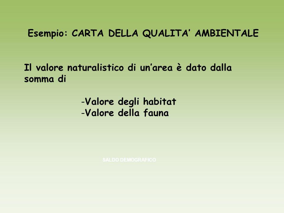 Esempio: CARTA DELLA QUALITA AMBIENTALE Il valore naturalistico di unarea è dato dalla somma di -Valore degli habitat -Valore della fauna SALDO DEMOGR