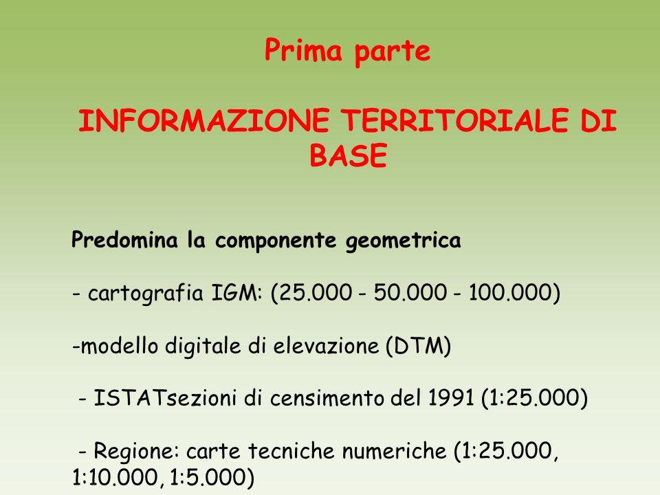 Prima parte INFORMAZIONE TERRITORIALE DI BASE Predomina la componente geometrica - cartografia IGM: (25.000 - 50.000 - 100.000) -modello digitale di e