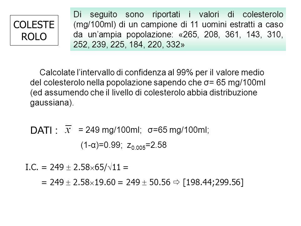 COLESTE ROLO Calcolate lintervallo di confidenza al 99% per il valore medio del colesterolo nella popolazione sapendo che σ= 65 mg/100ml (ed assumendo
