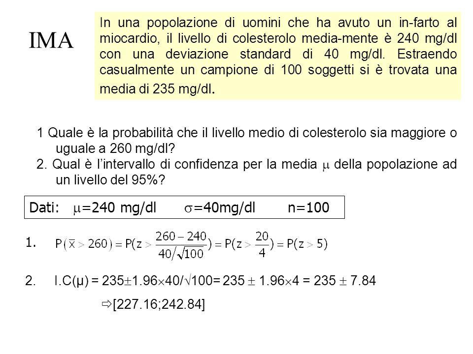 IMA In una popolazione di uomini che ha avuto un in-farto al miocardio, il livello di colesterolo media-mente è 240 mg/dl con una deviazione standard