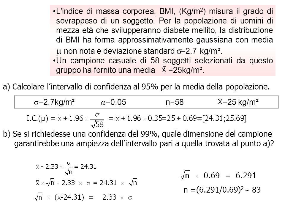 BMI a) Calcolare lintervallo di confidenza al 95% per la media della popolazione. L'indice di massa corporea, BMI, (Kg/m 2 ) misura il grado di sovrap