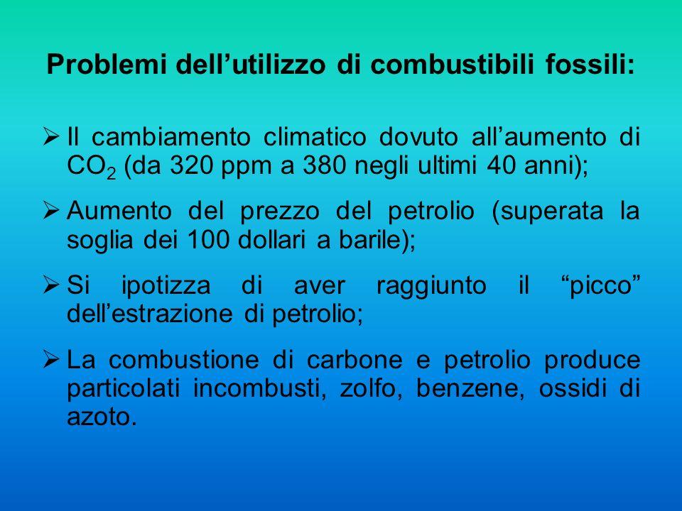 Problemi dellutilizzo di combustibili fossili: Il cambiamento climatico dovuto allaumento di CO 2 (da 320 ppm a 380 negli ultimi 40 anni); Aumento del prezzo del petrolio (superata la soglia dei 100 dollari a barile); Si ipotizza di aver raggiunto il picco dellestrazione di petrolio; La combustione di carbone e petrolio produce particolati incombusti, zolfo, benzene, ossidi di azoto.