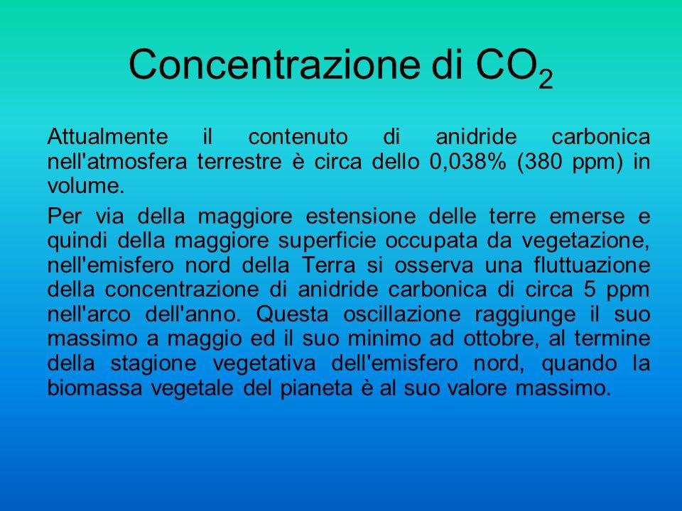 Attualmente il contenuto di anidride carbonica nell atmosfera terrestre è circa dello 0,038% (380 ppm) in volume.