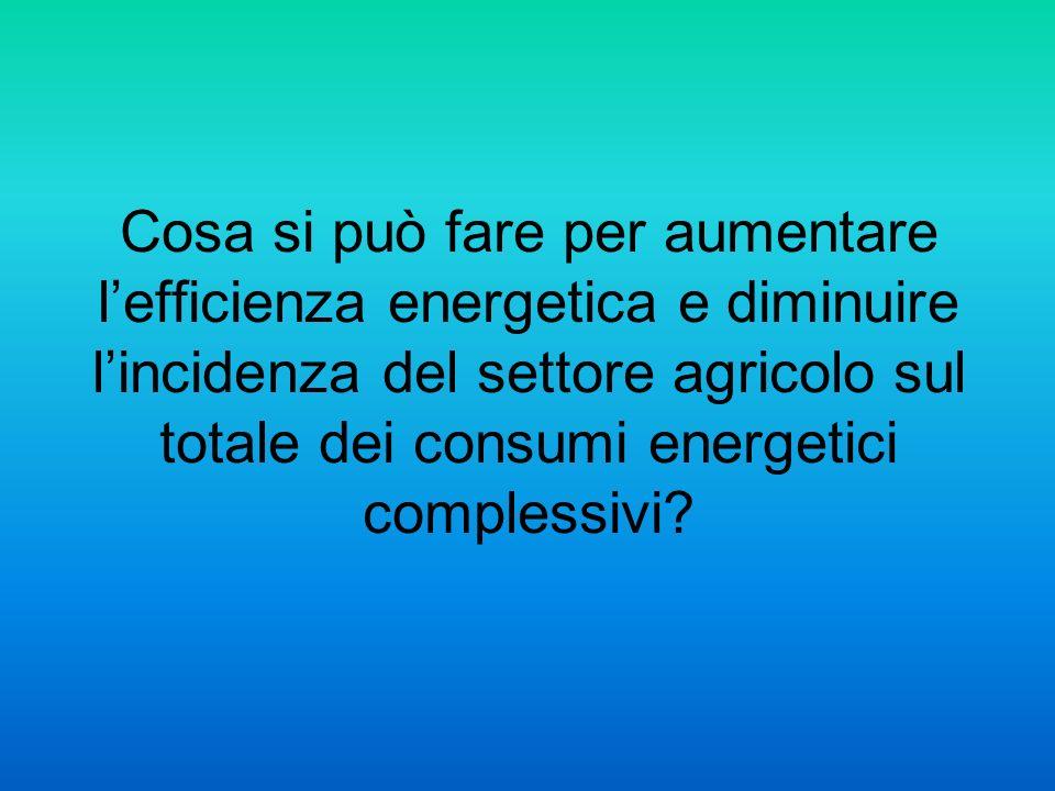 Cosa si può fare per aumentare lefficienza energetica e diminuire lincidenza del settore agricolo sul totale dei consumi energetici complessivi?