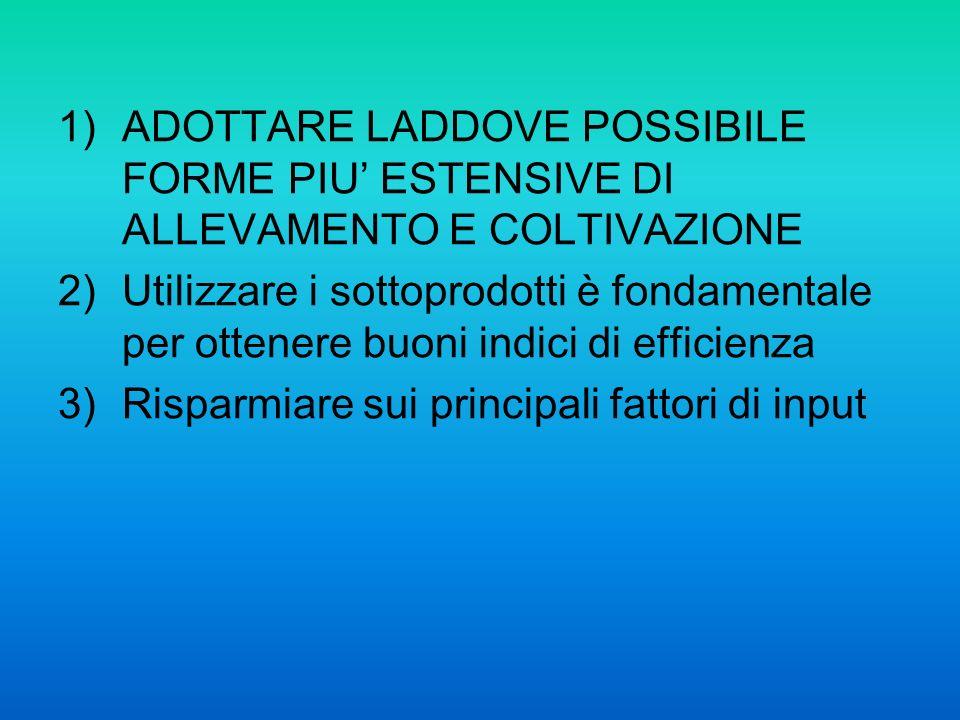 1)ADOTTARE LADDOVE POSSIBILE FORME PIU ESTENSIVE DI ALLEVAMENTO E COLTIVAZIONE 2)Utilizzare i sottoprodotti è fondamentale per ottenere buoni indici di efficienza 3)Risparmiare sui principali fattori di input