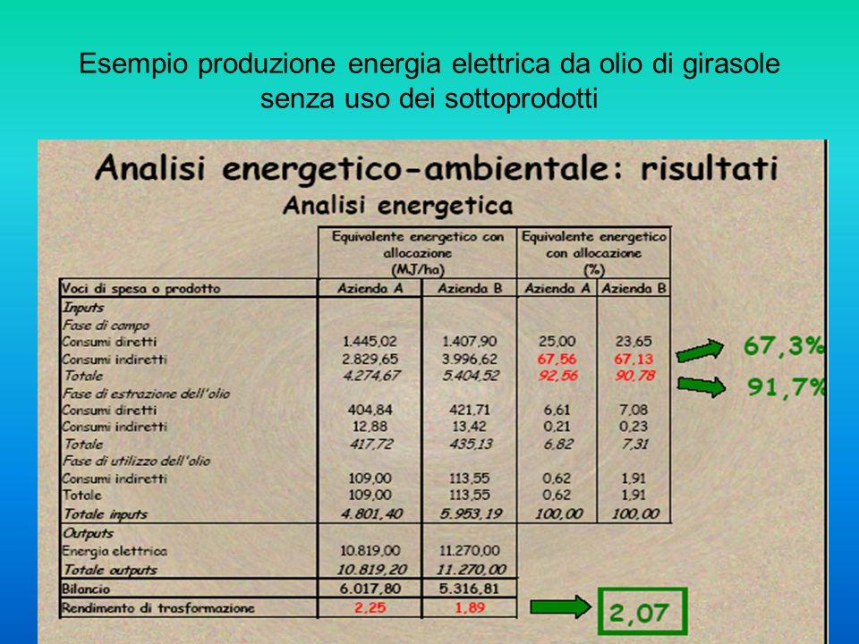 Esempio produzione energia elettrica da olio di girasole senza uso dei sottoprodotti