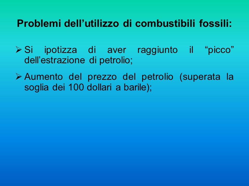 Problemi dellutilizzo di combustibili fossili: Si ipotizza di aver raggiunto il picco dellestrazione di petrolio; Aumento del prezzo del petrolio (superata la soglia dei 100 dollari a barile);