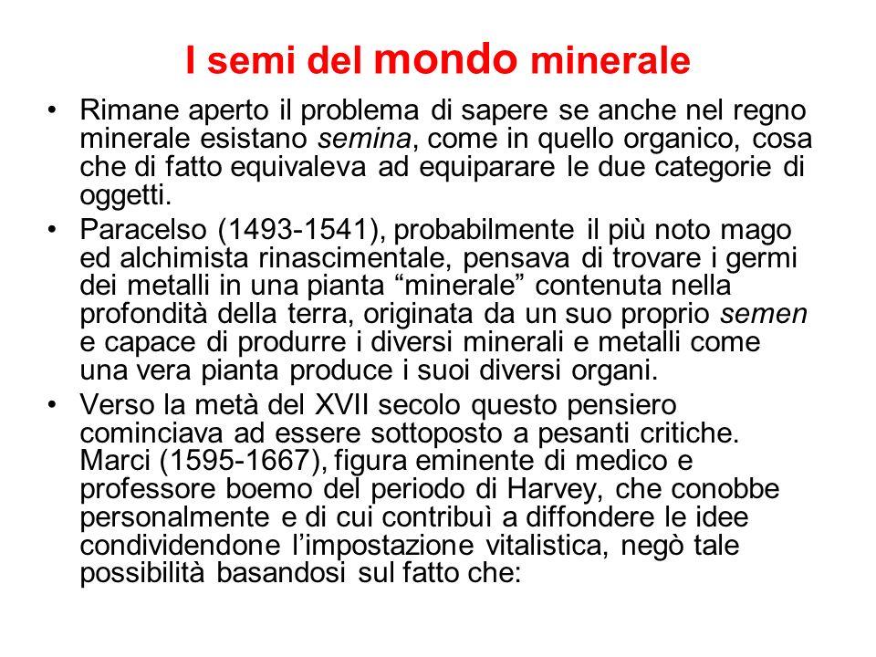 I semi del mondo minerale Rimane aperto il problema di sapere se anche nel regno minerale esistano semina, come in quello organico, cosa che di fatto
