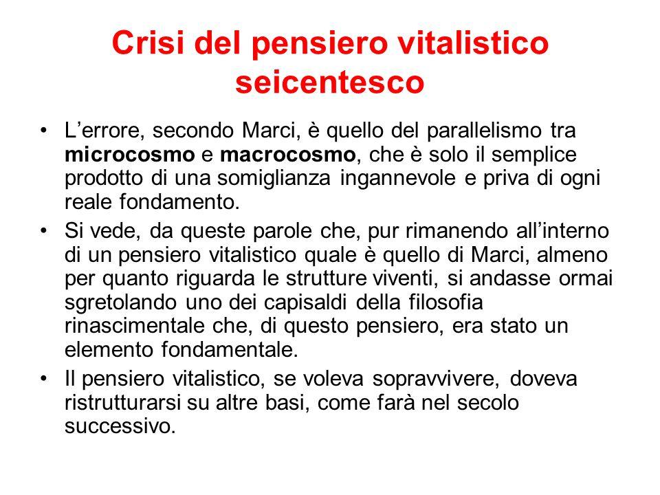 Crisi del pensiero vitalistico seicentesco Lerrore, secondo Marci, è quello del parallelismo tra microcosmo e macrocosmo, che è solo il semplice prodo