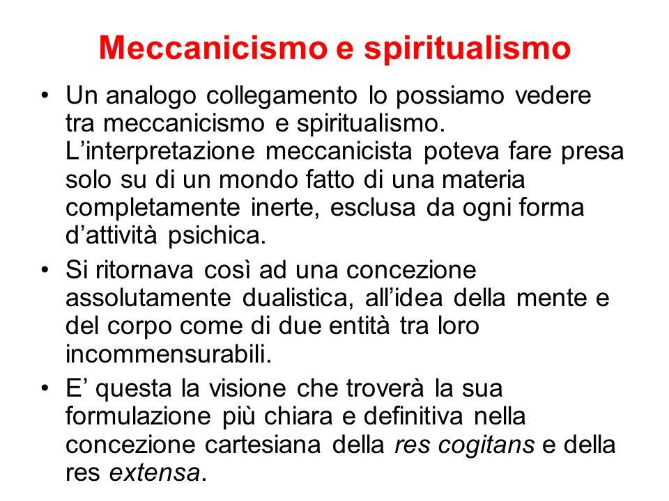 Meccanicismo e spiritualismo Un analogo collegamento lo possiamo vedere tra meccanicismo e spiritualismo. Linterpretazione meccanicista poteva fare pr