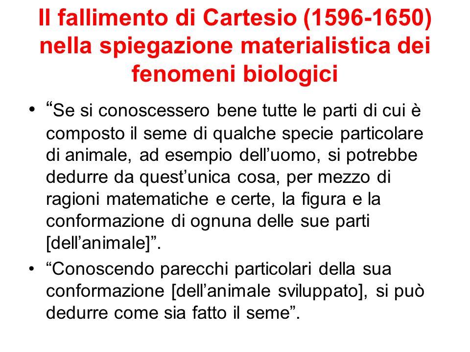 Il fallimento di Cartesio (1596-1650) nella spiegazione materialistica dei fenomeni biologici Se si conoscessero bene tutte le parti di cui è composto
