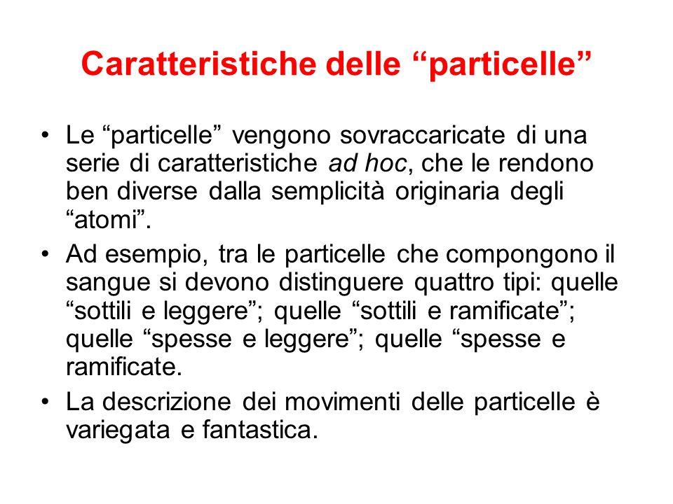 Caratteristiche delle particelle Le particelle vengono sovraccaricate di una serie di caratteristiche ad hoc, che le rendono ben diverse dalla semplic