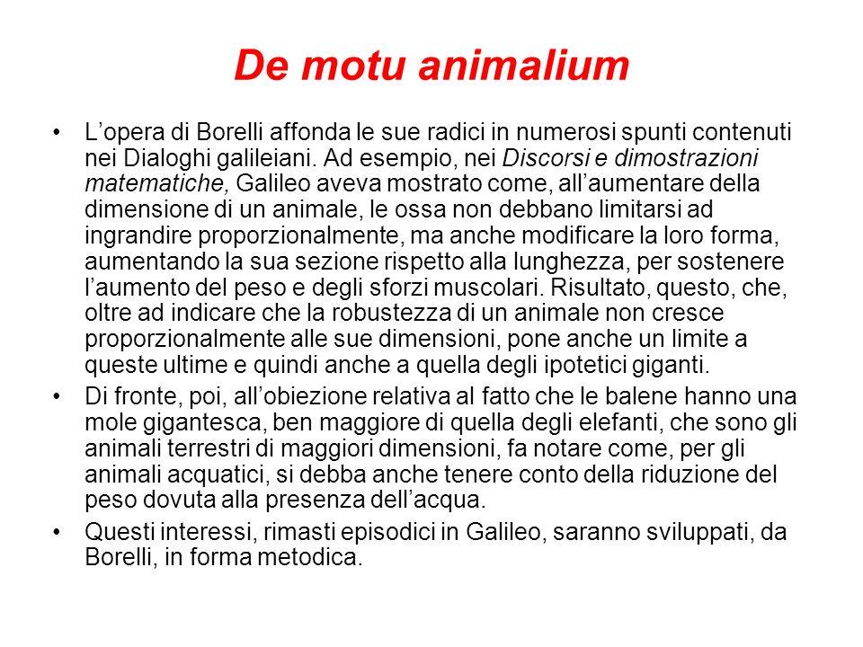De motu animalium Lopera di Borelli affonda le sue radici in numerosi spunti contenuti nei Dialoghi galileiani. Ad esempio, nei Discorsi e dimostrazio