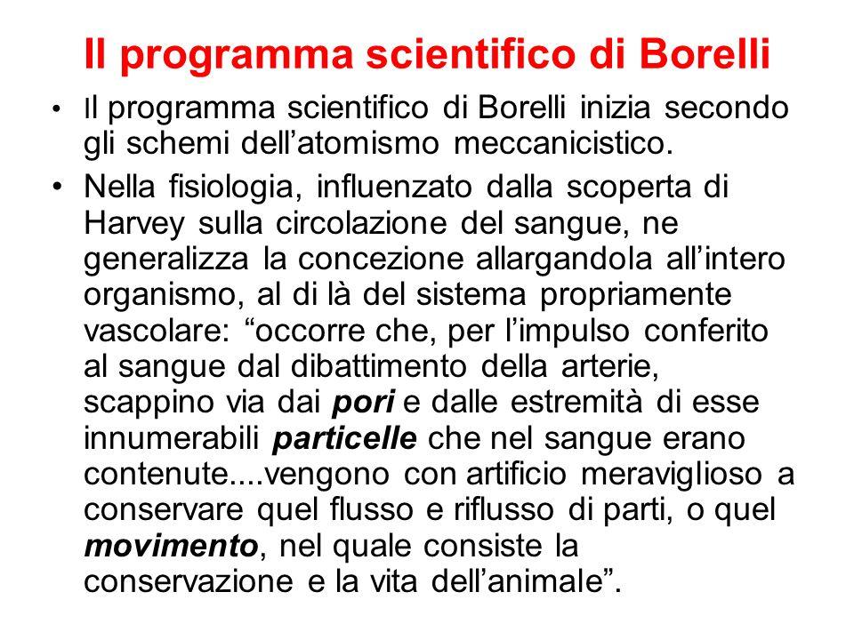Il programma scientifico di Borelli I l programma scientifico di Borelli inizia secondo gli schemi dellatomismo meccanicistico. Nella fisiologia, infl