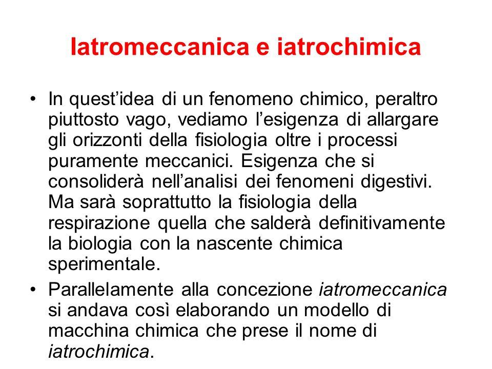 Iatromeccanica e iatrochimica In questidea di un fenomeno chimico, peraltro piuttosto vago, vediamo lesigenza di allargare gli orizzonti della fisiolo