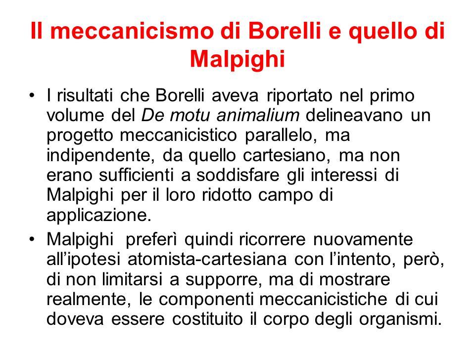 Il meccanicismo di Borelli e quello di Malpighi I risultati che Borelli aveva riportato nel primo volume del De motu animalium delineavano un progetto