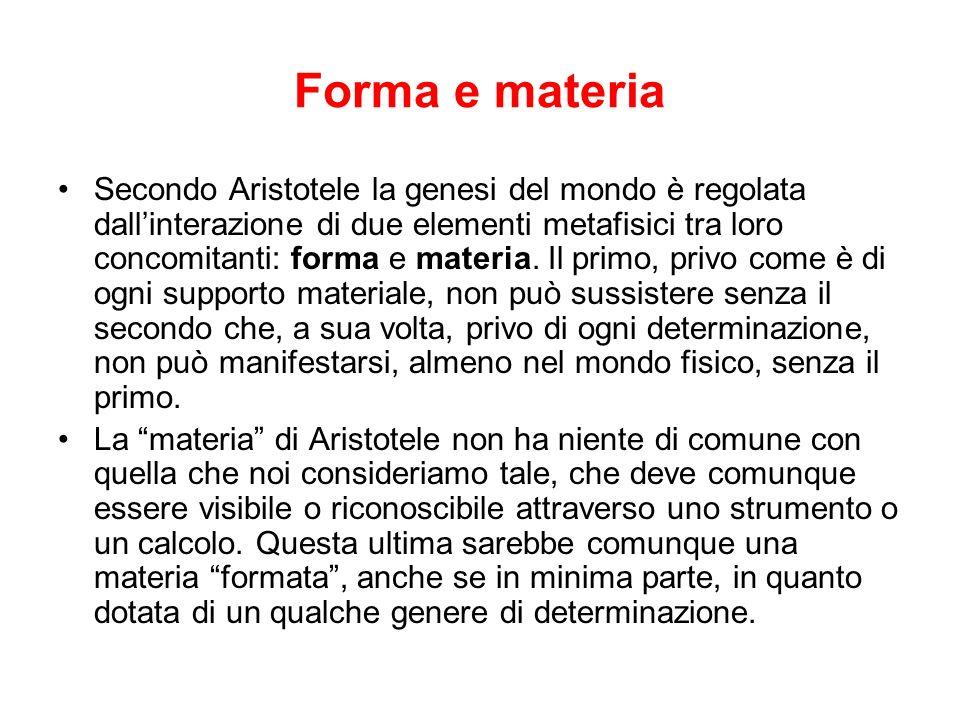 Forma e materia Secondo Aristotele la genesi del mondo è regolata dallinterazione di due elementi metafisici tra loro concomitanti: forma e materia. I