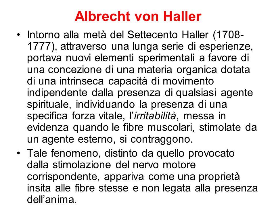 Albrecht von Haller Intorno alla metà del Settecento Haller (1708- 1777), attraverso una lunga serie di esperienze, portava nuovi elementi sperimental