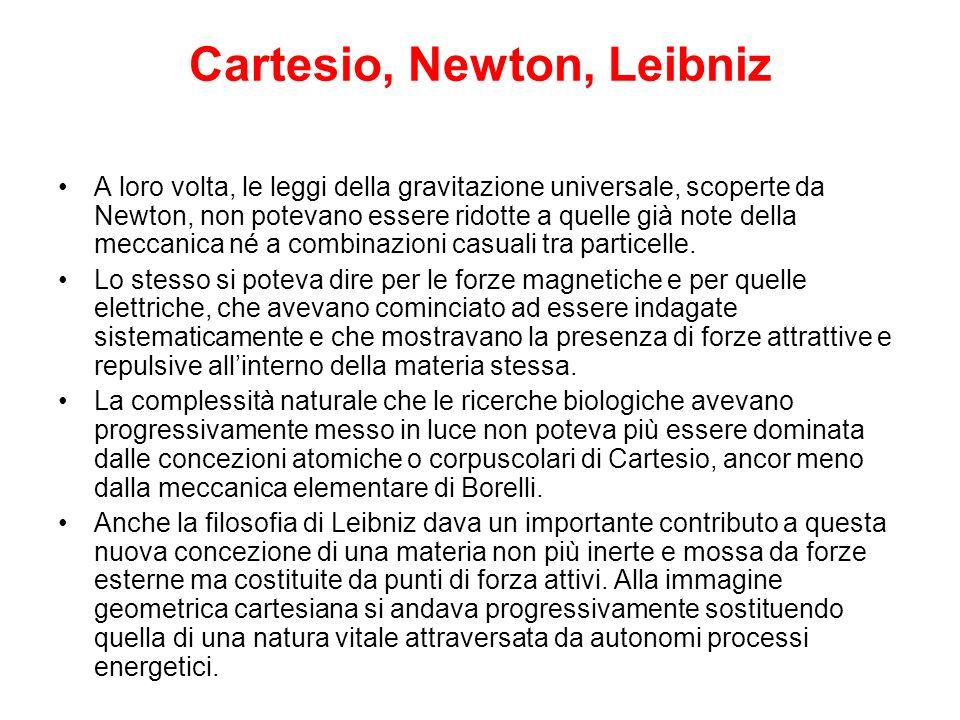 Cartesio, Newton, Leibniz A loro volta, le leggi della gravitazione universale, scoperte da Newton, non potevano essere ridotte a quelle già note dell