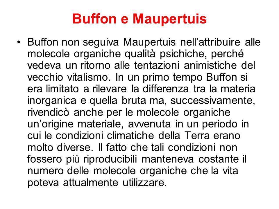 Buffon e Maupertuis Buffon non seguiva Maupertuis nellattribuire alle molecole organiche qualità psichiche, perché vedeva un ritorno alle tentazioni a