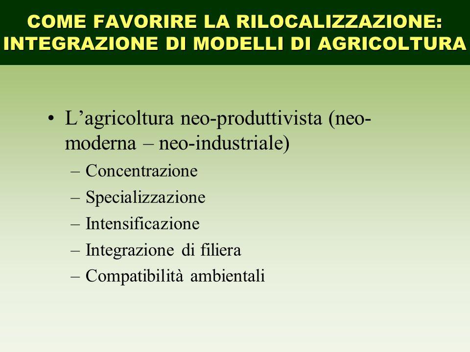 Lagricoltura neo-produttivista (neo- moderna – neo-industriale) –Concentrazione –Specializzazione –Intensificazione –Integrazione di filiera –Compatib