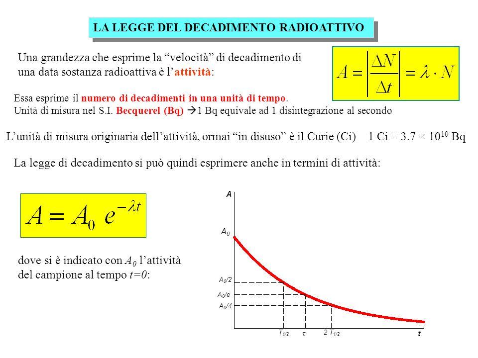 A A0A0 A 0 /e A 0 /2 A 0 /4 t T 1/2 2 T 1/2 LA LEGGE DEL DECADIMENTO RADIOATTIVO Una grandezza che esprime la velocità di decadimento di una data sostanza radioattiva è lattività: Essa esprime il numero di decadimenti in una unità di tempo.