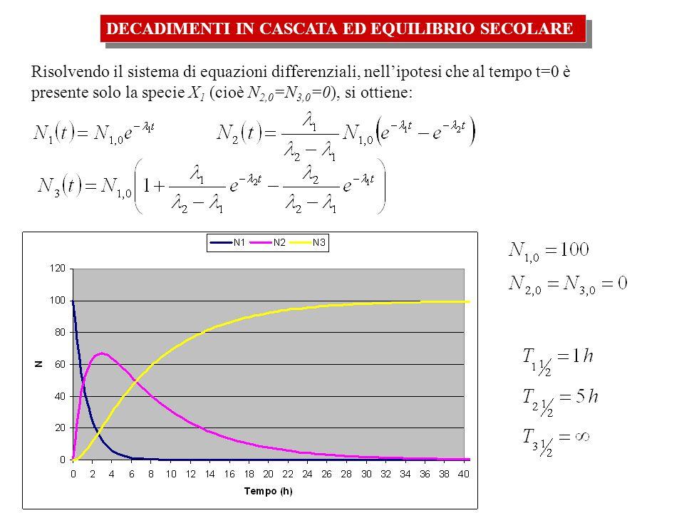 Risolvendo il sistema di equazioni differenziali, nellipotesi che al tempo t=0 è presente solo la specie X 1 (cioè N 2,0 =N 3,0 =0), si ottiene:
