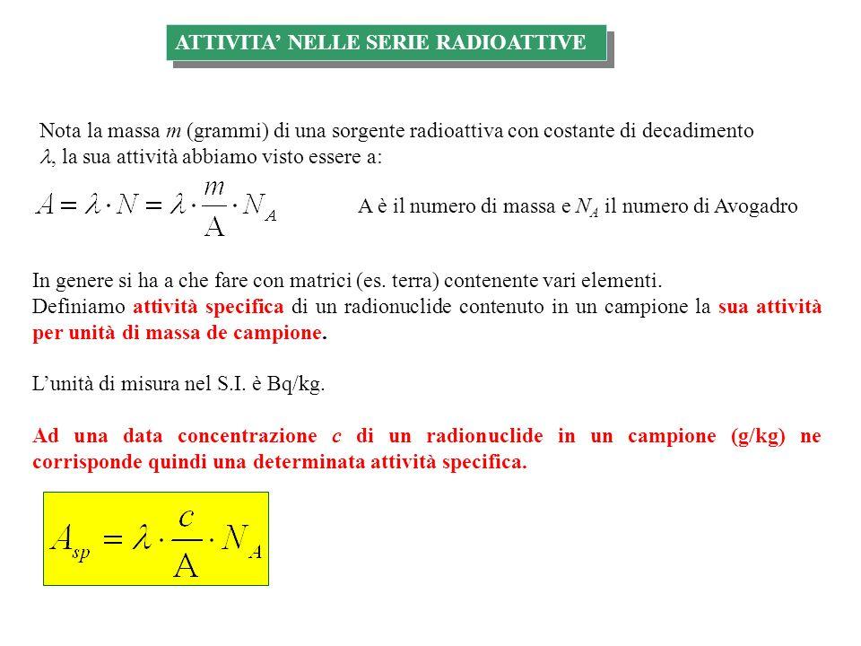 ATTIVITA NELLE SERIE RADIOATTIVE Nota la massa m (grammi) di una sorgente radioattiva con costante di decadimento, la sua attività abbiamo visto essere a: A è il numero di massa e N A il numero di Avogadro In genere si ha a che fare con matrici (es.