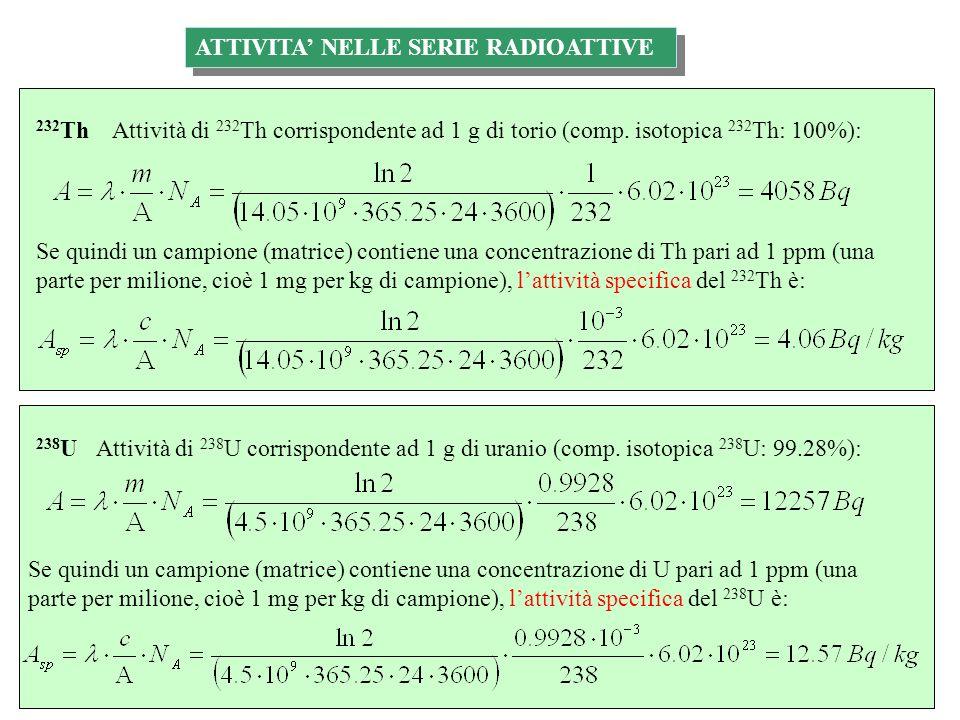 ATTIVITA NELLE SERIE RADIOATTIVE & POTASSIO-40 Attività di 235 U corrispondente ad 1 g di uranio (comp.