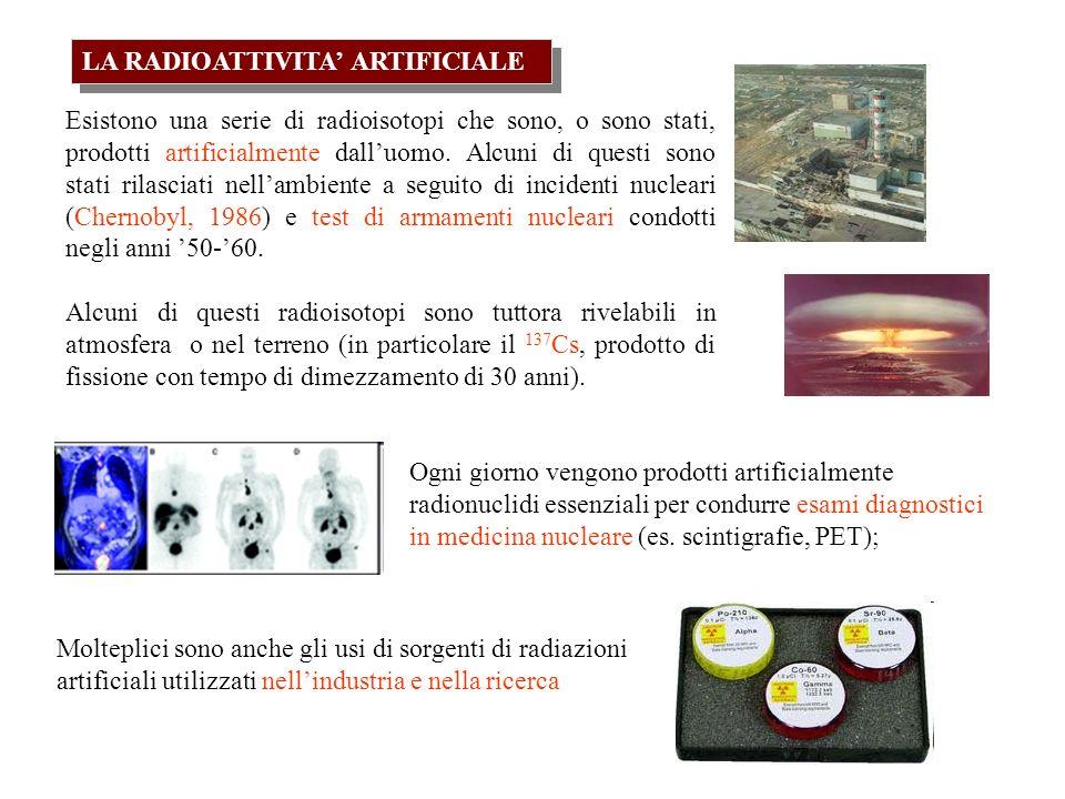 LA RADIOATTIVITA ARTIFICIALE Esistono una serie di radioisotopi che sono, o sono stati, prodotti artificialmente dalluomo.