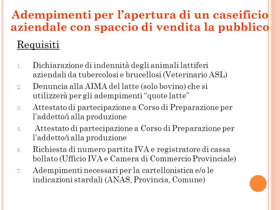 Requisiti 1. Dichiarazione di indennità degli animali lattiferi aziendali da tubercolosi e brucellosi (Veterinario ASL) 2. Denuncia alla AIMA del latt
