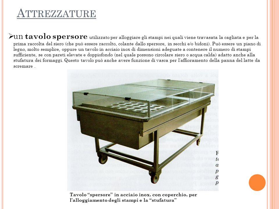 un tavolo spersore utilizzato per alloggiare gli stampi nei quali viene travasata la cagliata e per la prima raccolta del siero (che può essere raccol