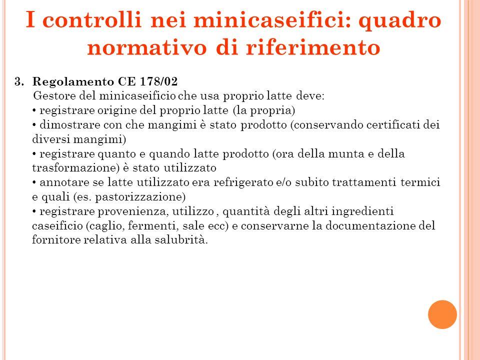 I controlli nei minicaseifici: quadro normativo di riferimento 3. Regolamento CE 178/02 Gestore del minicaseificio che usa proprio latte deve: registr