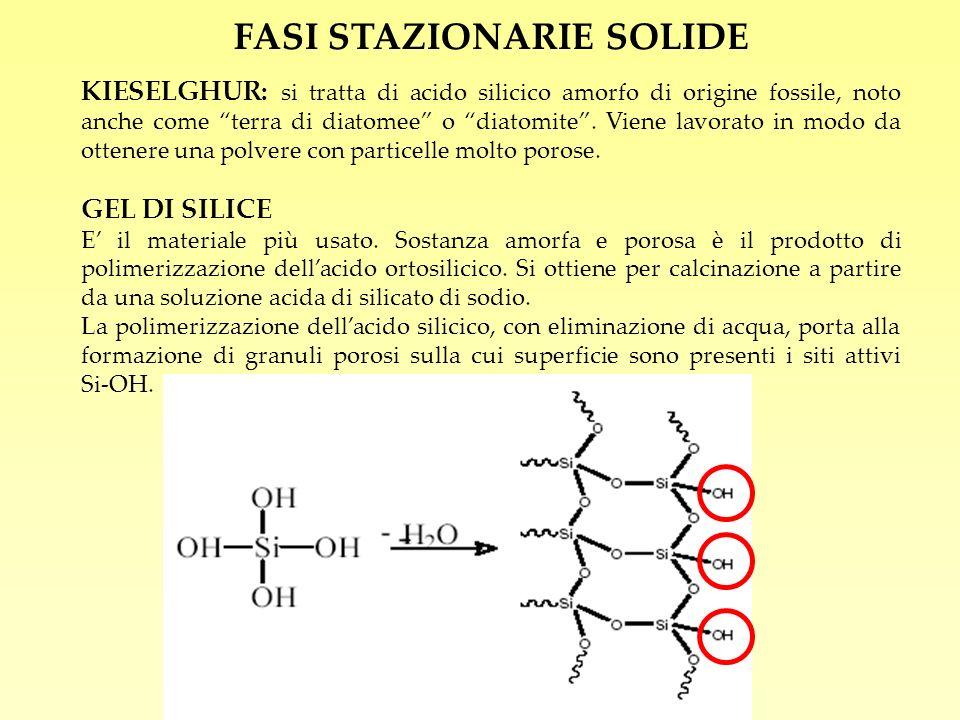 FASI STAZIONARIE SOLIDE KIESELGHUR: si tratta di acido silicico amorfo di origine fossile, noto anche come terra di diatomee o diatomite. Viene lavora