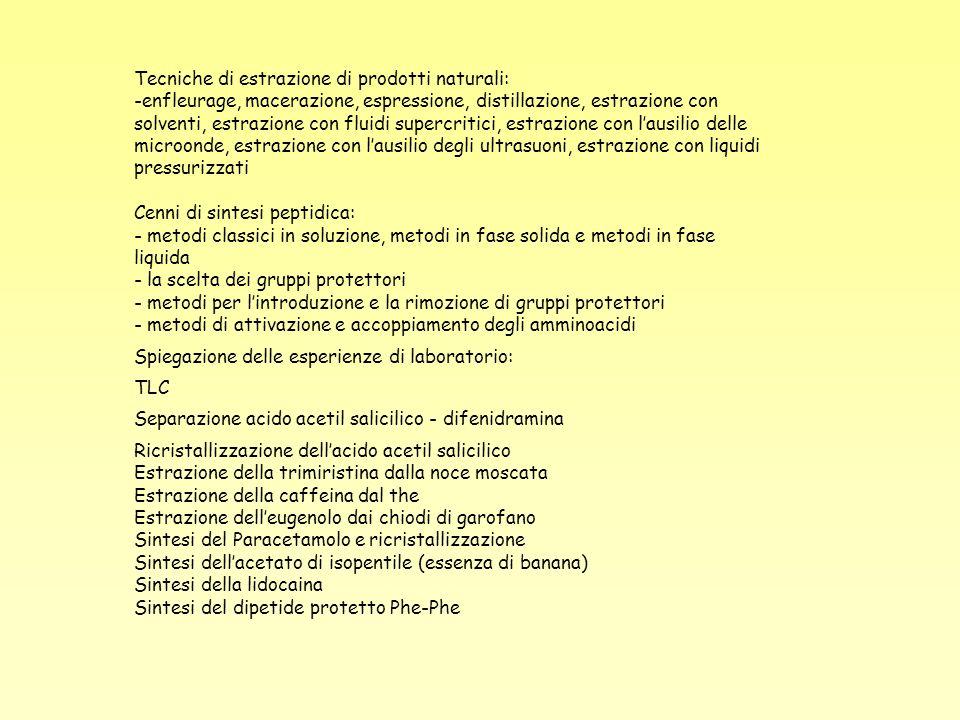 Tecniche di estrazione di prodotti naturali: -enfleurage, macerazione, espressione, distillazione, estrazione con solventi, estrazione con fluidi supe