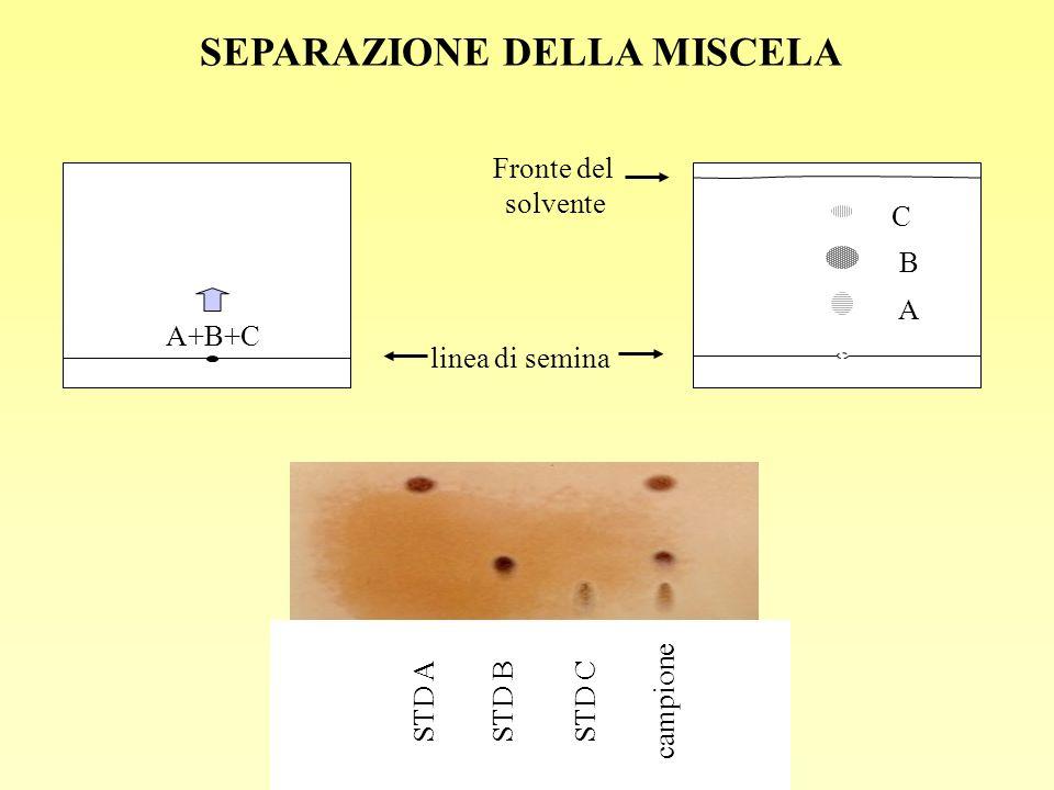 A+B+C linea di semina Fronte del solvente A B C SEPARAZIONE DELLA MISCELA STD A STD B campione STD C
