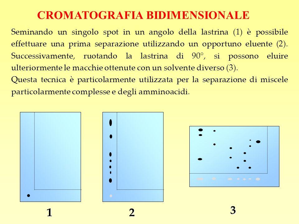 CROMATOGRAFIA BIDIMENSIONALE Seminando un singolo spot in un angolo della lastrina (1) è possibile effettuare una prima separazione utilizzando un opp