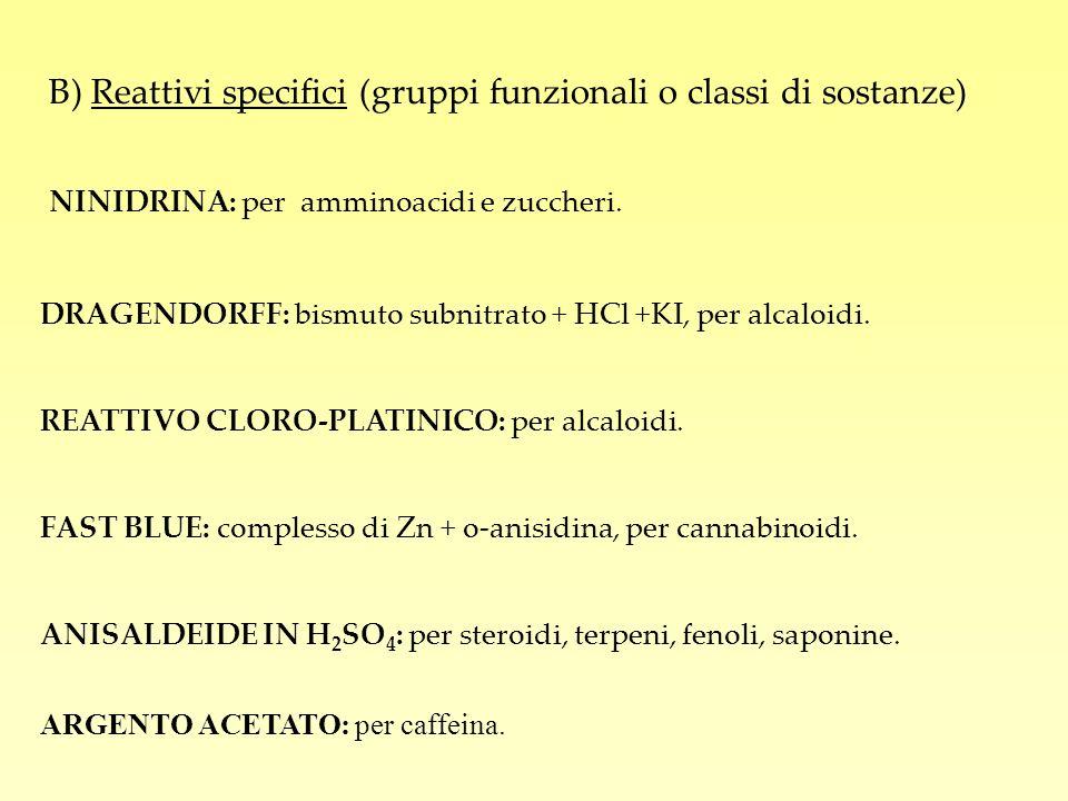 B) Reattivi specifici (gruppi funzionali o classi di sostanze) NINIDRINA: per amminoacidi e zuccheri. DRAGENDORFF: bismuto subnitrato + HCl +KI, per a