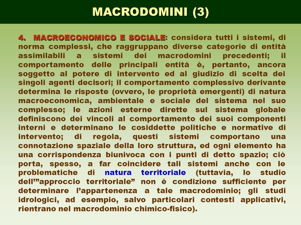 MACRODOMINI (3) 4.MACROECONOMICO E SOCIALE 4.MACROECONOMICO E SOCIALE: considera tutti i sistemi, di norma complessi, che raggruppano diverse categori