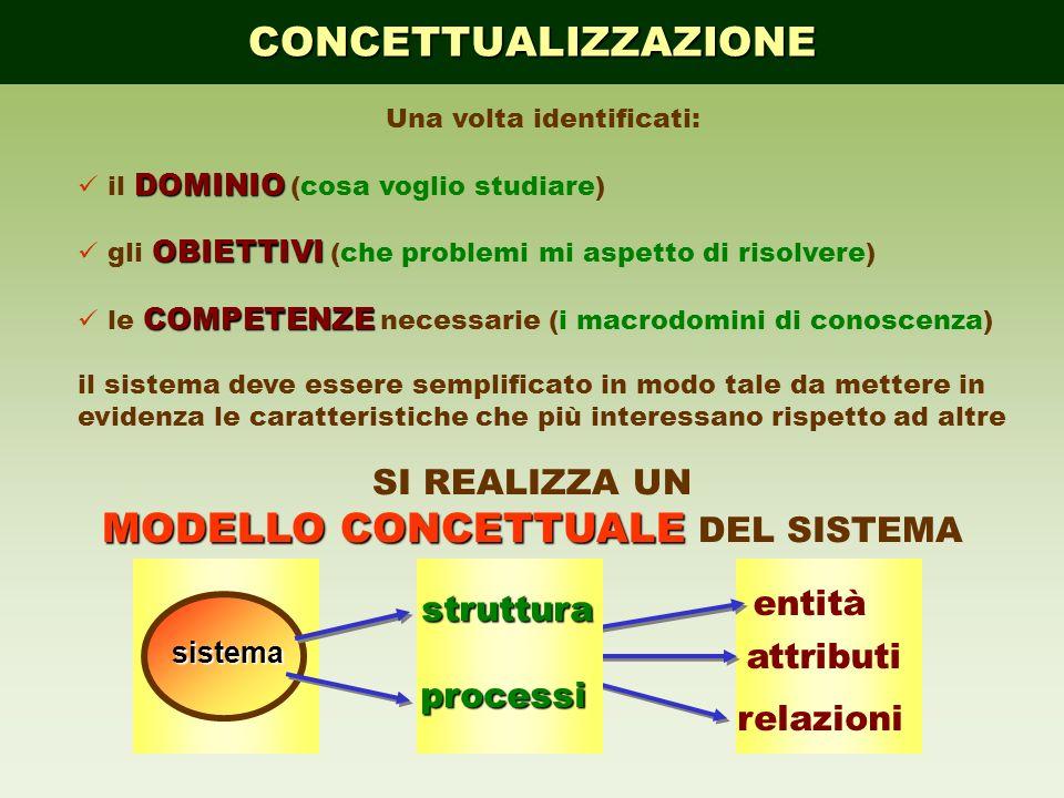 CONCETTUALIZZAZIONE Una volta identificati: DOMINIO il DOMINIO (cosa voglio studiare) OBIETTIVI gli OBIETTIVI (che problemi mi aspetto di risolvere) C