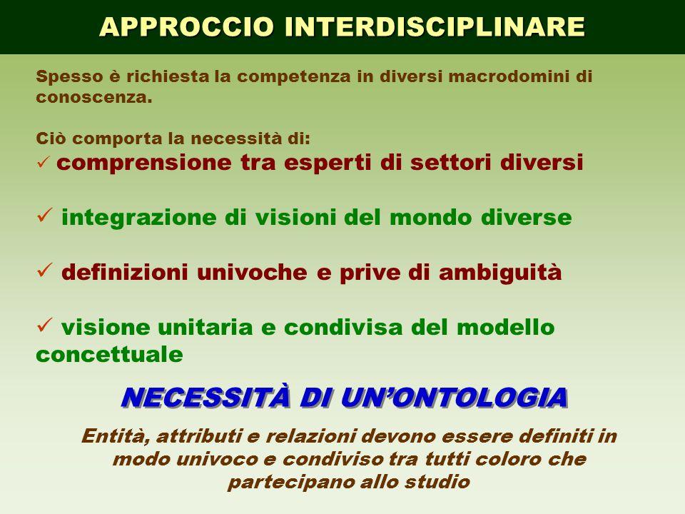 APPROCCIO INTERDISCIPLINARE Spesso è richiesta la competenza in diversi macrodomini di conoscenza. Ciò comporta la necessità di: comprensione tra espe