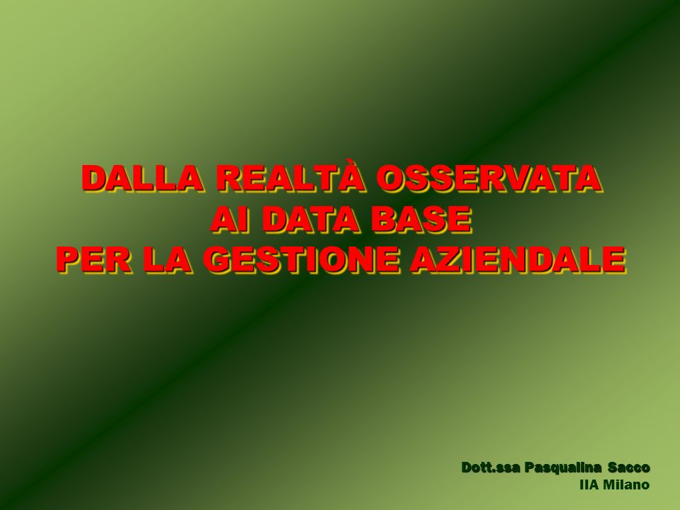 Dott.ssa Pasqualina Sacco IIA Milano DALLA REALTÀ OSSERVATA AI DATA BASE PER LA GESTIONE AZIENDALE DALLA REALTÀ OSSERVATA AI DATA BASE PER LA GESTIONE