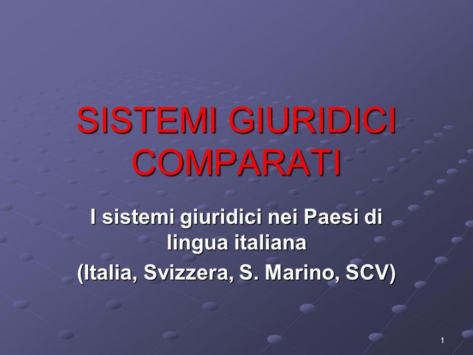 1 SISTEMI GIURIDICI COMPARATI I sistemi giuridici nei Paesi di lingua italiana (Italia, Svizzera, S. Marino, SCV)