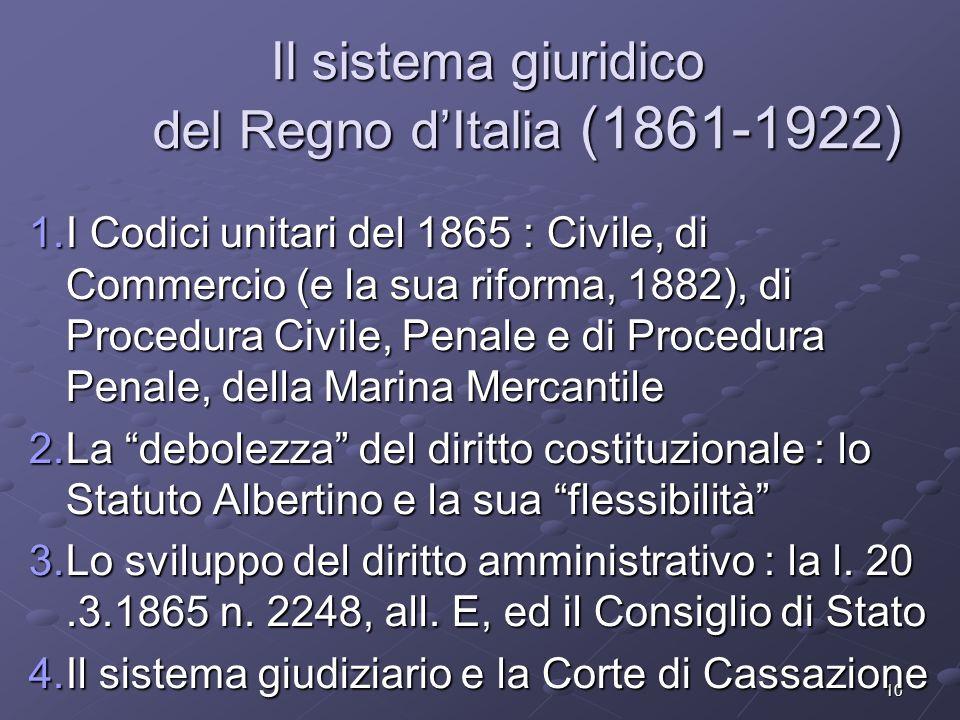 10 Il sistema giuridico del Regno dItalia (1861-1922) 1.I Codici unitari del 1865 : Civile, di Commercio (e la sua riforma, 1882), di Procedura Civile