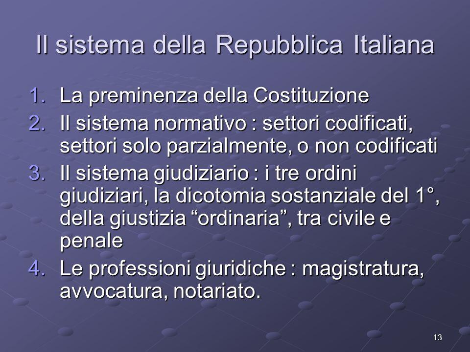 13 Il sistema della Repubblica Italiana 1.La preminenza della Costituzione 2.Il sistema normativo : settori codificati, settori solo parzialmente, o n
