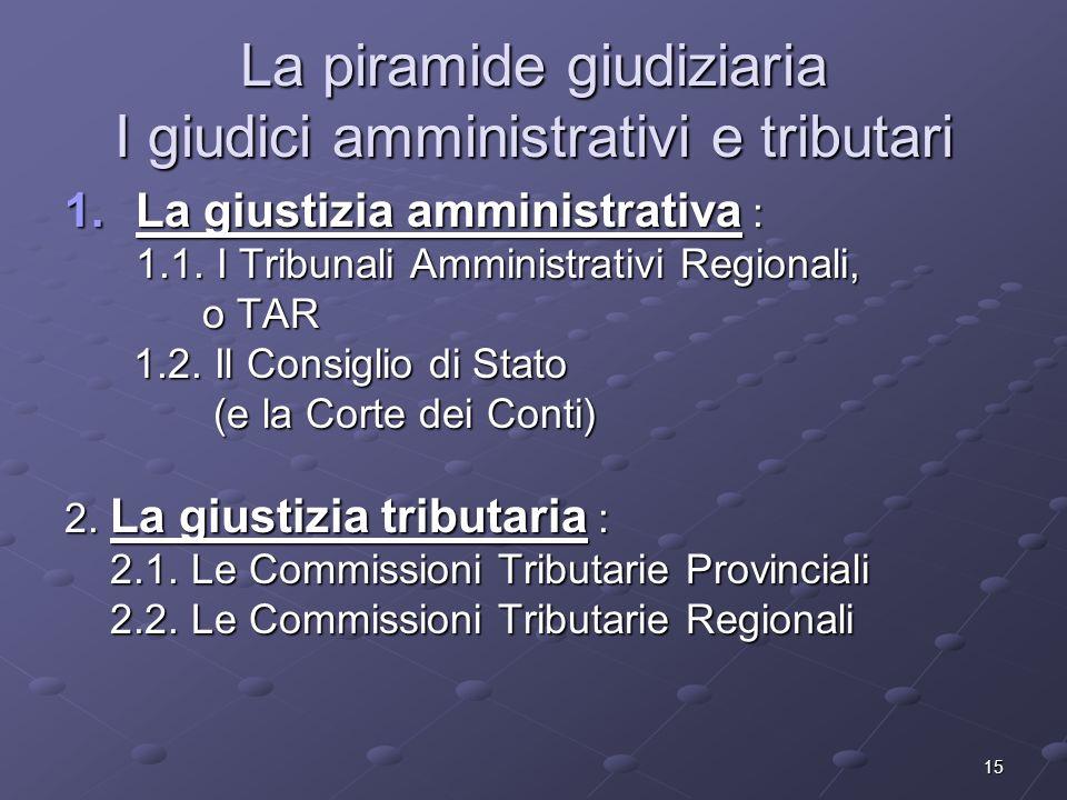 15 La piramide giudiziaria I giudici amministrativi e tributari 1.La giustizia amministrativa : 1.1. I Tribunali Amministrativi Regionali, o TAR o TAR