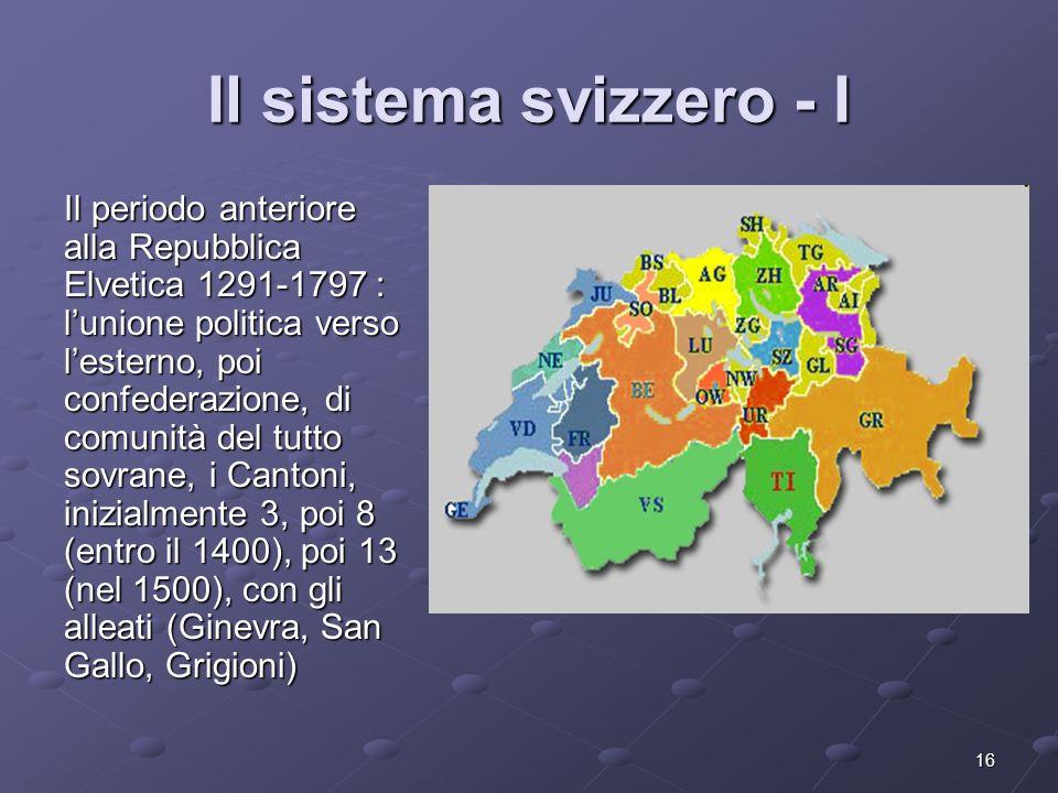 16 Il sistema svizzero - I Il periodo anteriore alla Repubblica Elvetica 1291-1797 : lunione politica verso lesterno, poi confederazione, di comunità