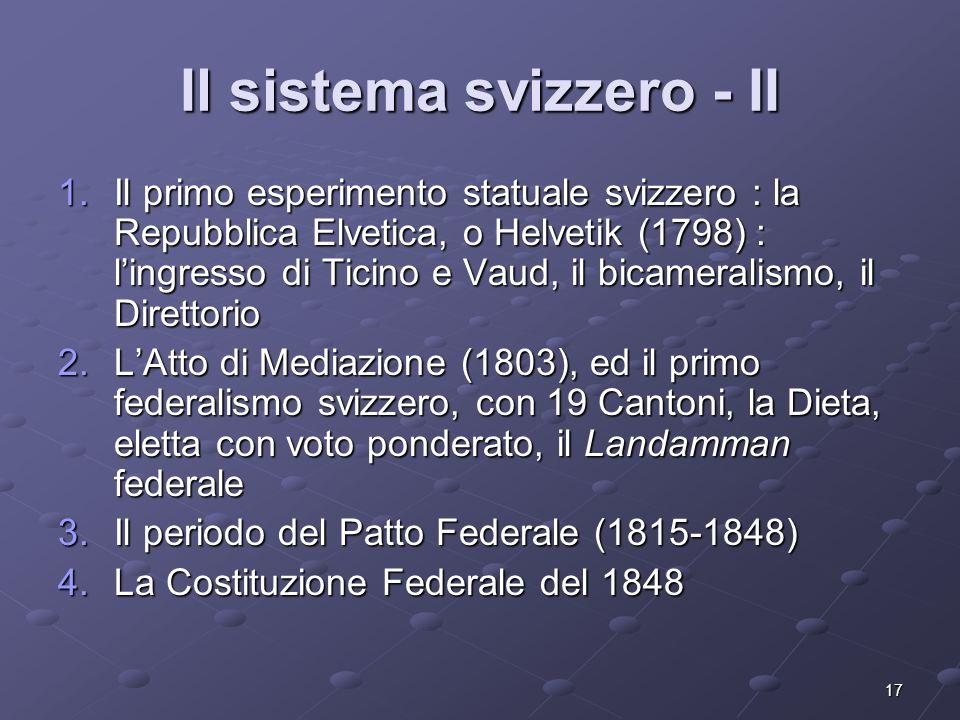 17 Il sistema svizzero - II 1.Il primo esperimento statuale svizzero : la Repubblica Elvetica, o Helvetik (1798) : lingresso di Ticino e Vaud, il bica