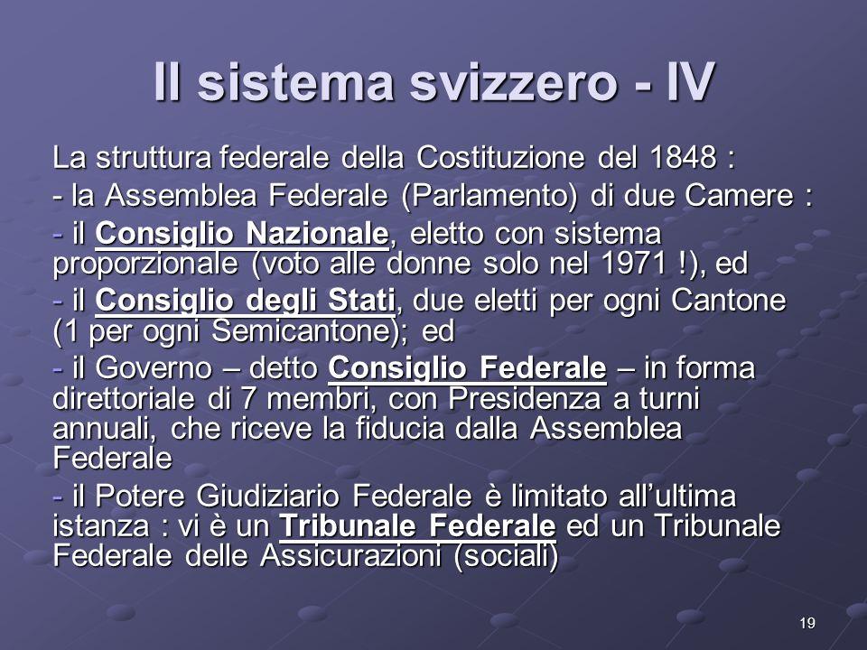 19 Il sistema svizzero - IV La struttura federale della Costituzione del 1848 : - la Assemblea Federale (Parlamento) di due Camere : - il Consiglio Na