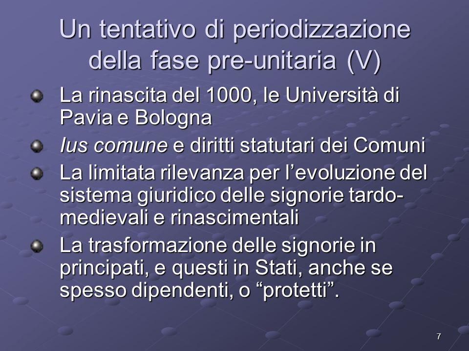 7 Un tentativo di periodizzazione della fase pre-unitaria (V) La rinascita del 1000, le Università di Pavia e Bologna Ius comune e diritti statutari d